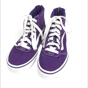 Vans Off The Wall Canvas Purple High Top Sneakers